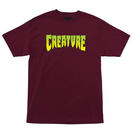 Creature Logo XL  T-Shirt Burgundy