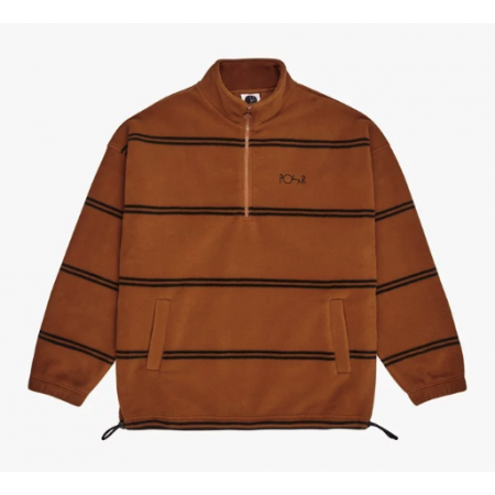 POL-F19 Striped Fleece Pullover (Caramel)  S